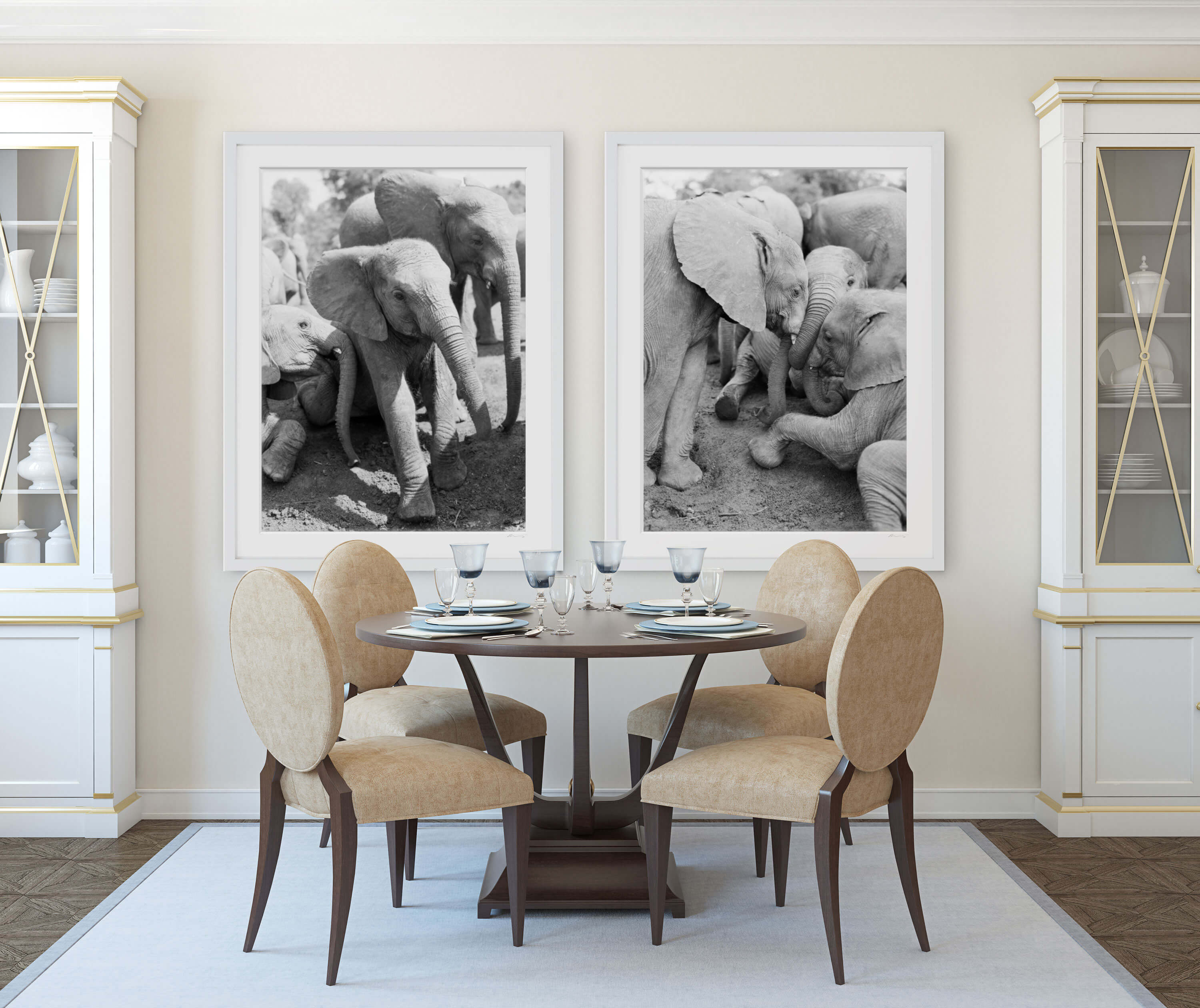 elephant artwork dining room interior