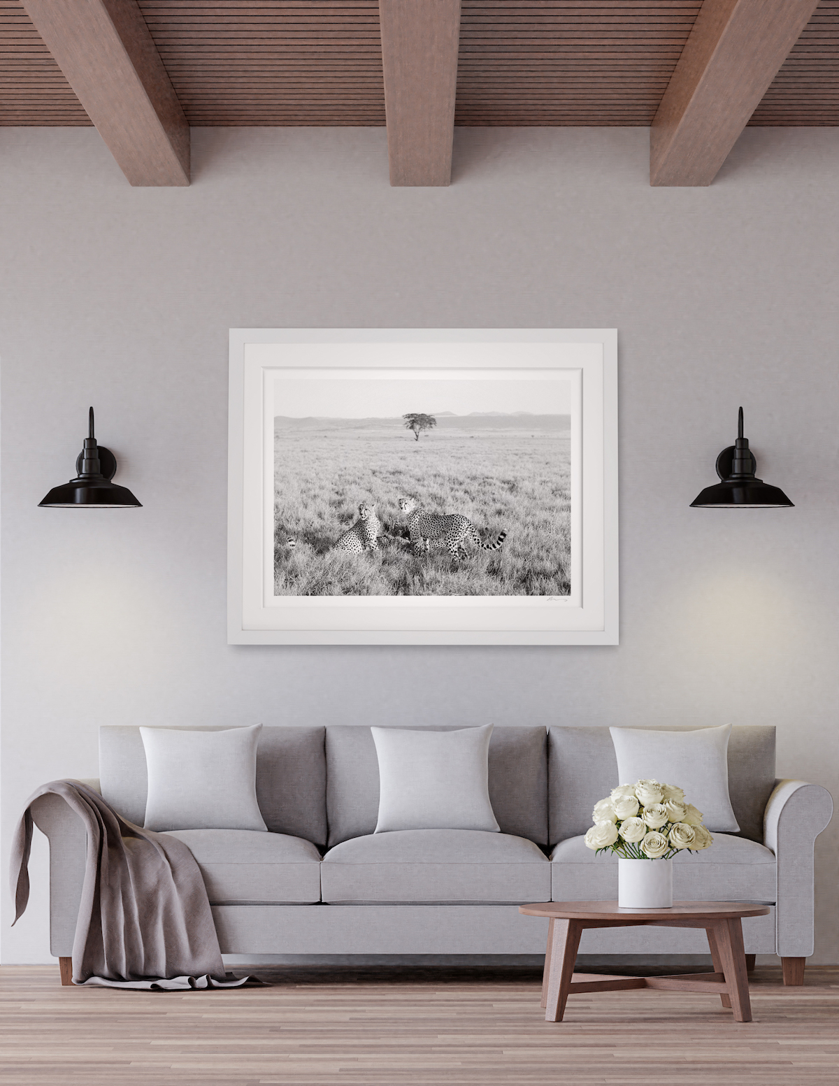 wildlife art living room interior